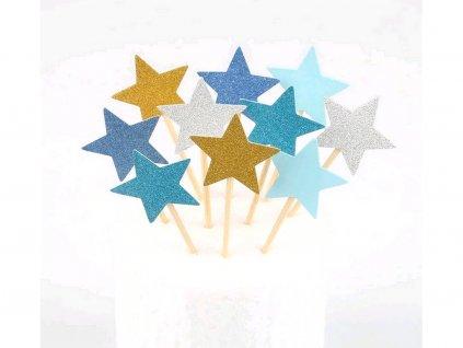 Hviezdičky modrý motív zapichovátka 10 ks