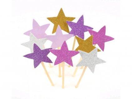 Hviezdičky ružový motív zapichovátka 10 ks