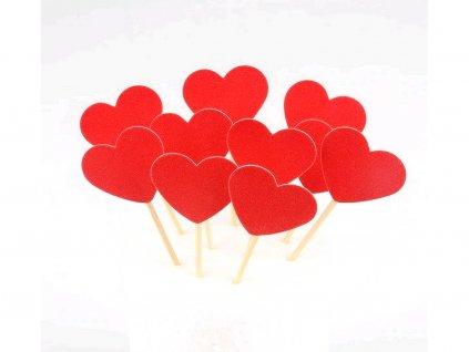Srdiečka zapichovátka 10 ks červený motív