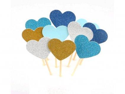 Srdiečka zapichovátka 10 ks modrý motív