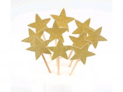Hviezdičky zapichovátka 10 ks zlaté