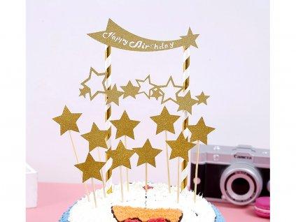 Happy Birthday zlaté hviezdy zapichovátka