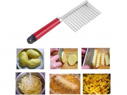 Nôž (veľký) na HRANOLKY a zeleninu s vrúbkovanou čepeľou 22x6cm