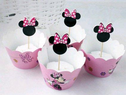 Ozdobný obal na muffiny so zapichovátkami 6 ks MINNIE ružový 1