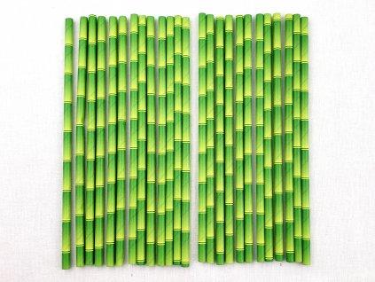 Ekologické papierové slamky 25 ks zelené (bambus) 1