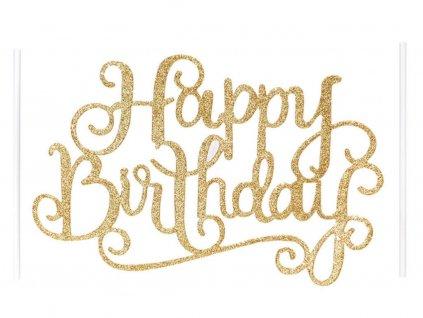 Zapichovač Happy Birthday zlatý 1