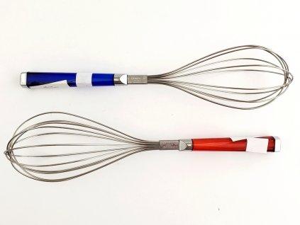 Metlička na šľahanie s modrou alebo červenou rúčkou