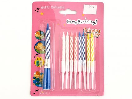 Hracia narodeninová sviečka + 8 ks klasické sviečky