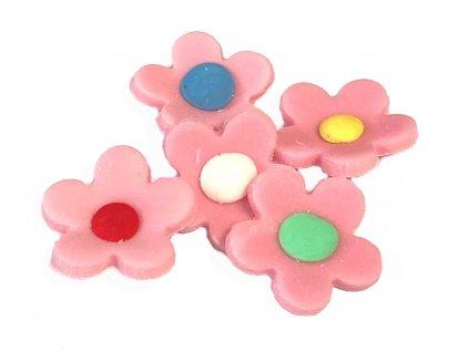 Kvietky (z modelovacej hmoty) 16 ks ružové
