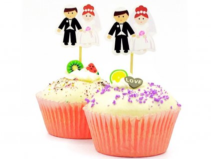 Nevesta a ženích svadobné zapichovátka 24 ks 1