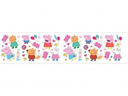 Obvodová dekorácia z jedlého papiera motív Prasiatko Peppa č.1 3 ks, 87 cm