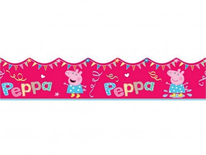 Obvodová dekorácia z jedlého papiera motív Prasiatko Peppa č.2 3 ks, 87 cm