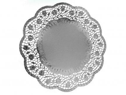 Ozdobný papier pod tortu strieborný okrúhly O 36 cm (4ks)