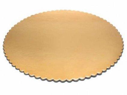 Podložka pod tortu kruhová zlatá pevná s ozdobným okrajom Ø 30 cm G2000