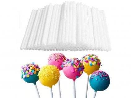 Tyčinky na cakepops 80 ks biele 10 cm 1