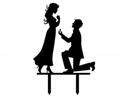 Svadobný zapichovač do torty Kľačiaci muž