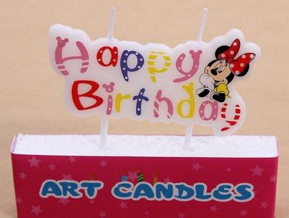 Sviečka Minnie Mouse HAPPY BIRTHDAY