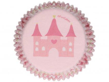Papierové košíčky na pečenie 48 ks ružové HRAD PRINCEZNÁ 1