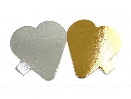 Podložka pod dezerty SRDCE papierová zlatá / strieborná 9x10 cm