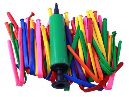 Dlhé balóny vhodné na tvarovanie postavičiek 12 ks + pumpa na nafúknutie balónov
