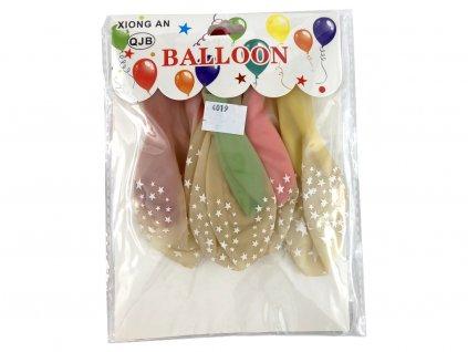 Balón v balóne HVIEZDIČKY 6 ks (dvojvrstvové balóny)