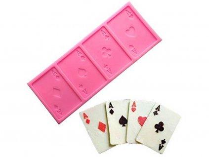 Karty ESÁ (poker) silikónová forma na modelovanie 1