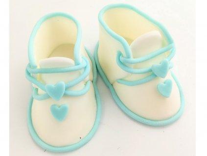 Papučky z modelovacej hmoty bielo modré jedlá detská ozdoba