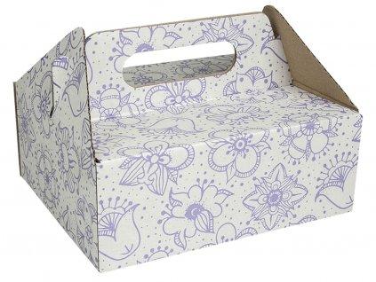 Zákusková krabica bielofialová s úchytkou 19 x 16 x 7 cm