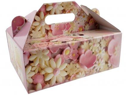 Zákusková krabica kašírovaná s úchytkou (motív sladká ružová) 26 x 19,5 x 10 cm 1