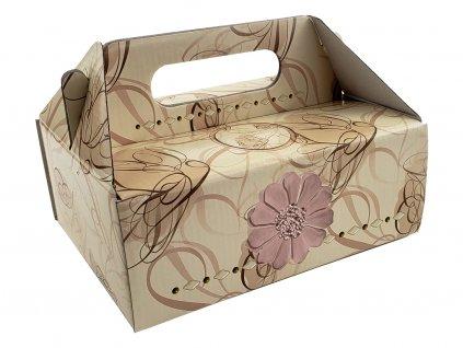 Zákusková krabica kašírovaná s úchytkou (ornamenty s kvetom) 19 x 16 x 7 cm