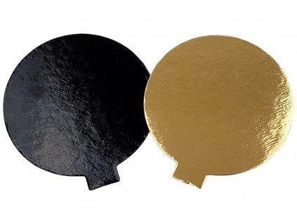 Podložka pod dezerty kruhová papierová čierna zlatá Ø 8 cm