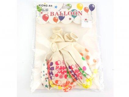 Balóny biele Happy Birthday 6 ks