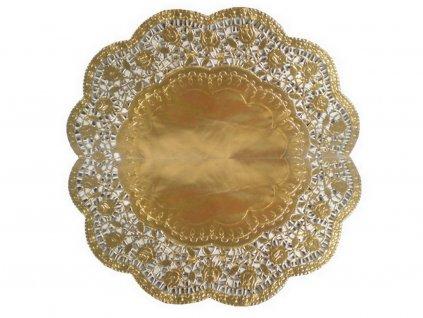 Ozdobný papier pod tortu zlatý okrúhly O 36 cm (4 ks)