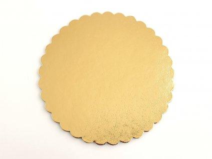 Podložka pod tortu kruhová zlatá pevná s ozdobným okrajom O 24 cm
