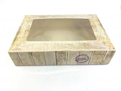 Krabica s okienkom drevený vzor s nápisom HOME MADE 36 x 25 x 8 cm, 2 ks