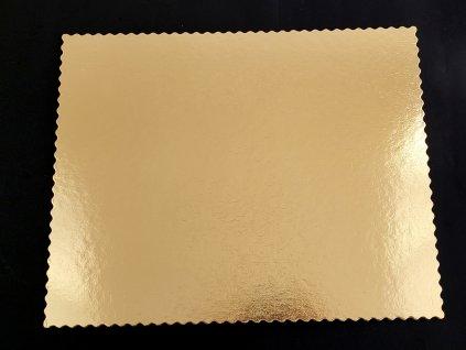 Podložka pod tortu obdĺžniková zlatá pevná s ozdobným okrajom 36x46 cm G2400