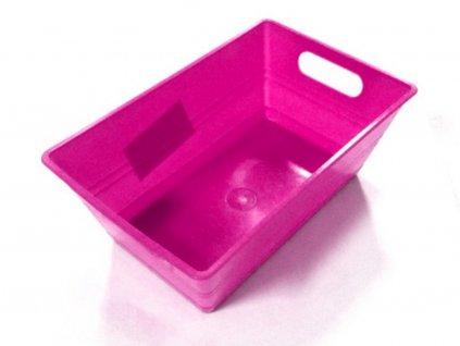 Hranatá plastová nádobka ružová 14x9x5,5 cm