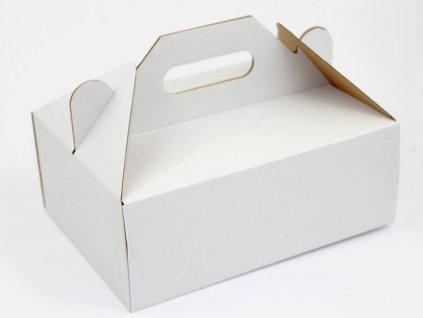 1828 Zákusková krabica biela s úchytkou 26 x 19,5 x 10 cm