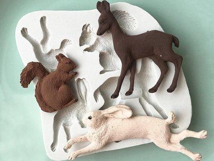 1970 Silikónová forma lesné zvieratká jeleň, zajac, veverička
