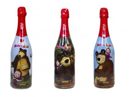 Detský šampus MÁŠA a MEDVEĎ s jablkovou šťavou 750 ml