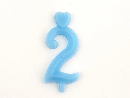 Sviecka císlo 2 modrá so stojancekom