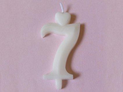 Sviečka číslo 7 biela so stojančekom