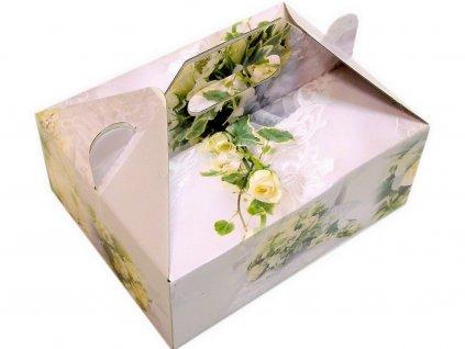 00654 Zákusková krabica kašírovaná s úchytkou (ruže) 26x19,5x10 cm
