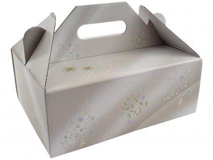 Zákusková krabica kašírovaná s úchytkou (kvetinky) 26 x 19,5 x 10 cm 2