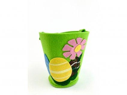 Veľkonočný košíček plstený zelený vzor VAJÍČKA