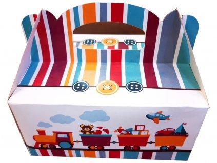 Darčeková krabička detská s vláčikom 19x14x9cm