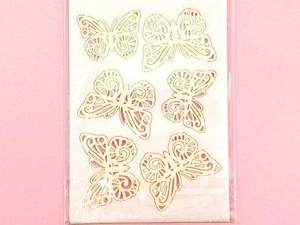 MOTÝLE cipkované biele dekorácia z jedlej oblátky (6 ks)