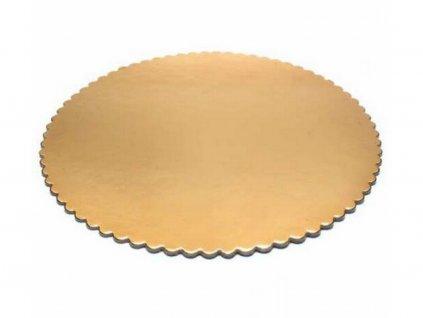 Papierová zlatá podložka hrubá, kruh O 28 cm