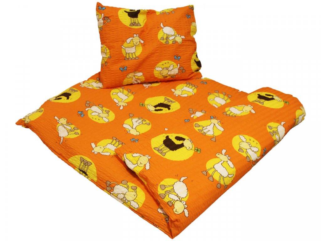 Dětské krepové povlečení Ovečka oranžová 1
