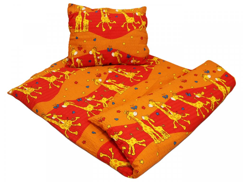 Dětské krepové povlečení do školky Žirafa oranžová 1